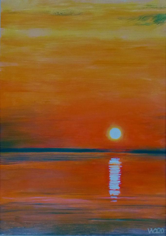 Sunset 20 - 24 x 33 cm  Ölfarbe auf Papier   45.00 €