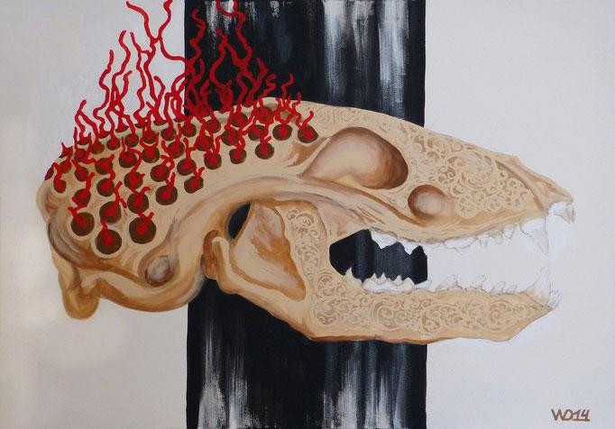 Geschwitzt und geschnitzt - 70 x 100cm Acrylfarbe, Schlussfirnis  280€