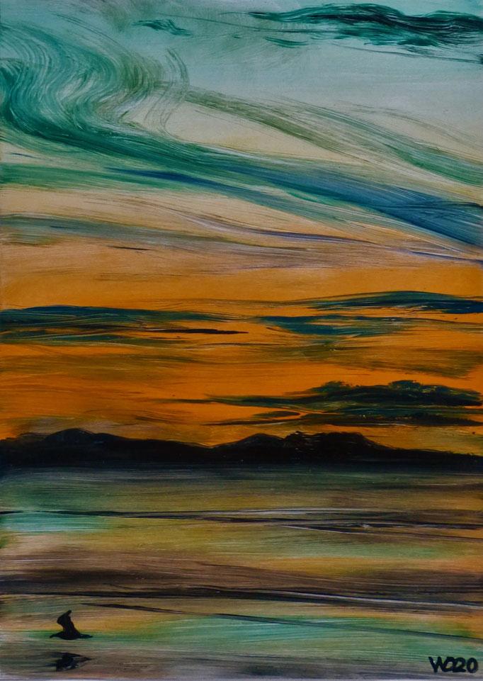 Sunset 76 - 24 x 33 cm  Ölfarbe auf Papier   45.00 €