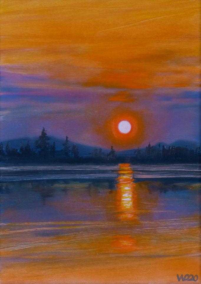 Sunset 42 - 24 x 33 cm  Ölfarbe auf Papier   45.00 €