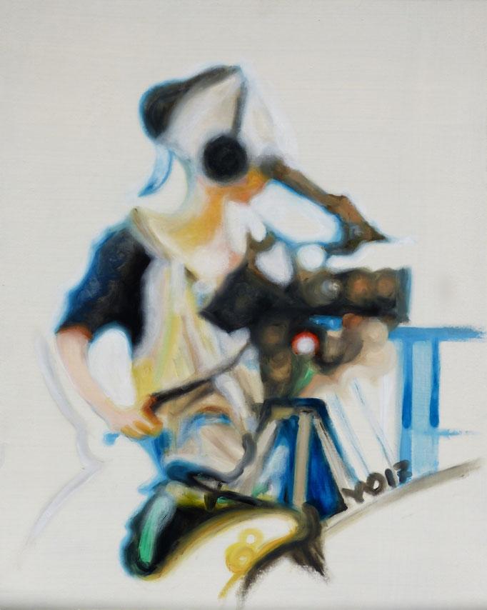 Kamerafrau - 75 x 60cm  Ölfarbe,  3mm MDF-Platte    180.00 €