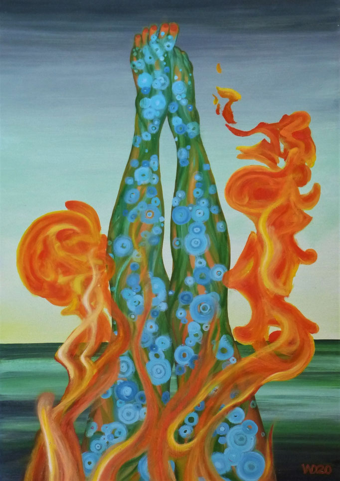 Burning feet - 50 x 70 cm  Ölfarbe auf 3mm MDF-Platte   330.00 €