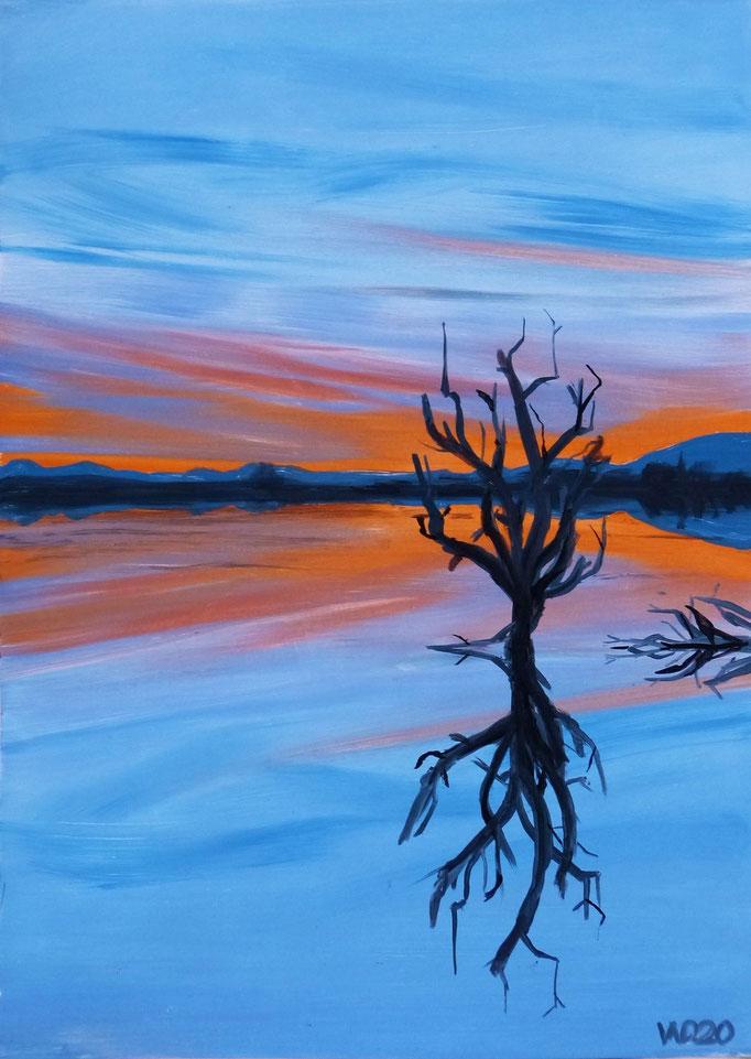Sunset 37 - 24 x 33 cm  Ölfarbe auf Papier   45.00 €
