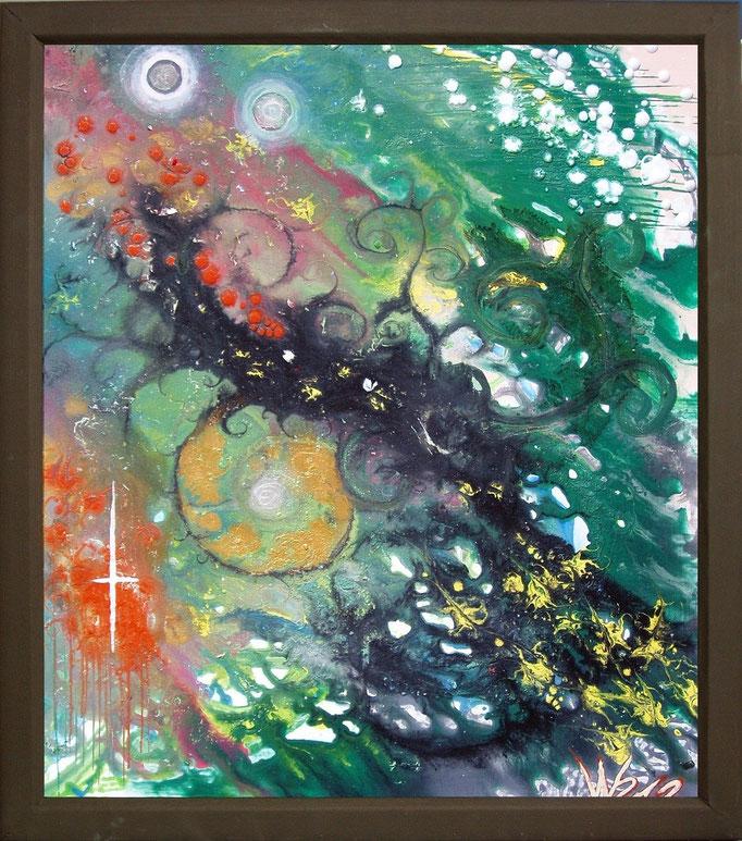 NEBULA GREEN - 52 x 59 cm (mit Rahmen ) Acrylfarbe, selbstgemischte Acrylfarbe, Strukturpaste auf Hartfaserplatte.  90.00 €