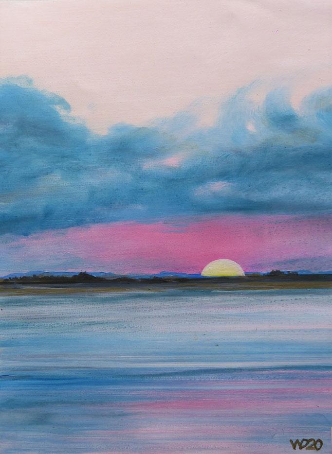 Sunset 67 - 24 x 33 cm  Ölfarbe auf Papier   45.00 €