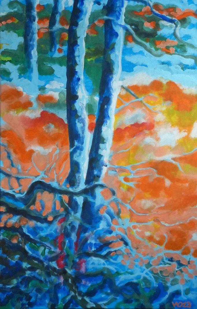 Die Blaubäume - 75 x 116cm  Acrylfarbe, Leinwand, Schlussfirnis   500.00 €