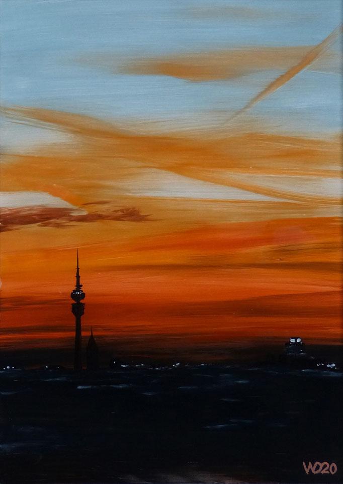 Sunset 29 München- 24 x 33 cm  Ölfarbe auf Papier   45.00 €
