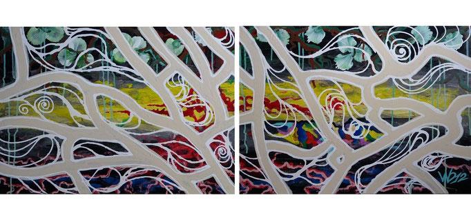 Mykorrhiza - 50 x 140 cm (ohne Zwischenraum)   Acrylfarbe, Leinwand, Schlussfirnis   110.00 €