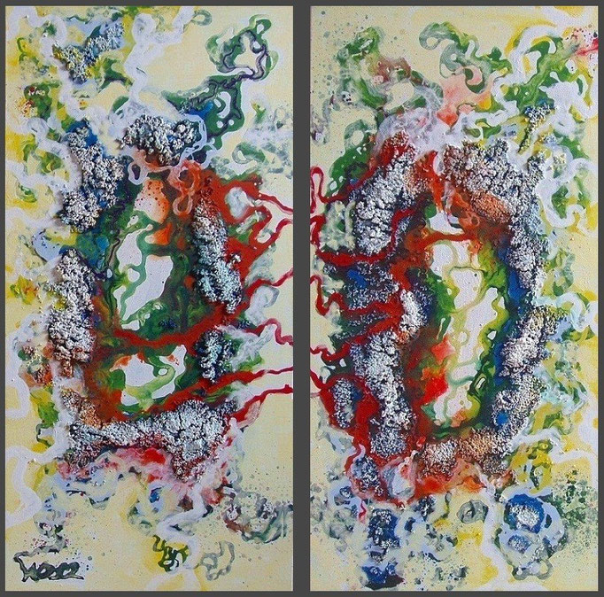 Dizygotisch  - 2 x 40 x 80 x 3,5 cm  Acrylfarbe, Struktursand, Schlussfirnis.   360.00 €