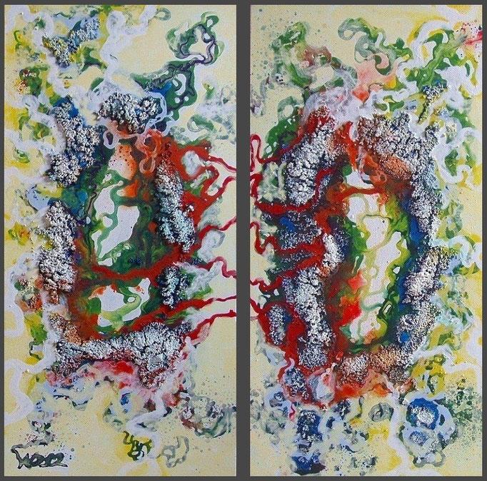 Dizygotisch  - 2 x 40 x 80 x 3,5 cm  Acrylfarbe, Struktursand, Schlussfirnis.   160.00 €