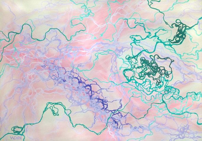 Minze mit Lavendel - 70 x 100cm Acrylfarbe, Schlussfirnis  200€