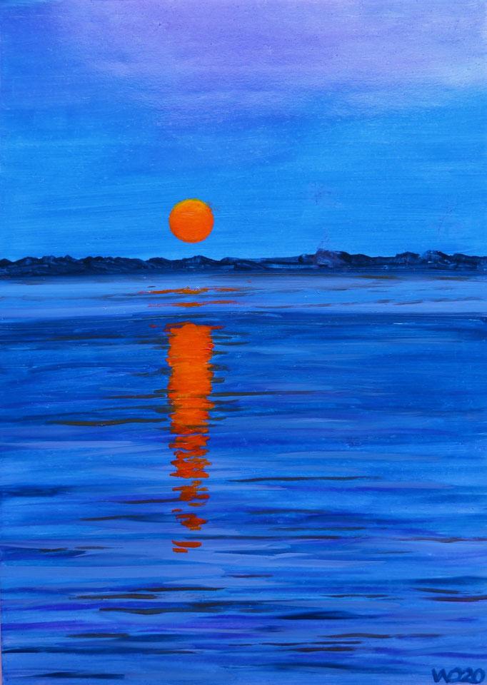 Sunset 58 - 24 x 33 cm  Ölfarbe auf Papier   45.00 €