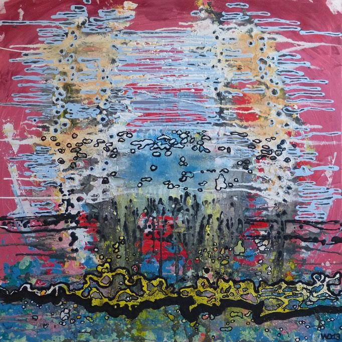 Pünktlich zum Mittag - 90 x 90 cm Acrylfarbe, Strukturpaste, Schlussfirnis.  660.00 €