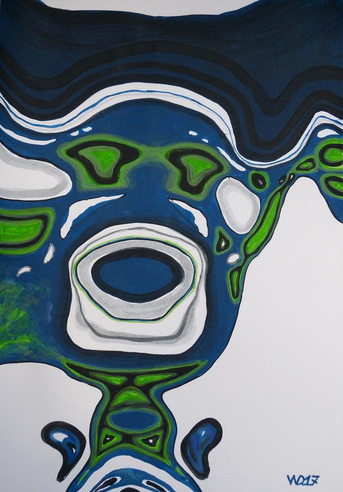 Spiegelkarpfen - 35 x 50 cm  Acrylfarbe auf`s Papier    99.00 €
