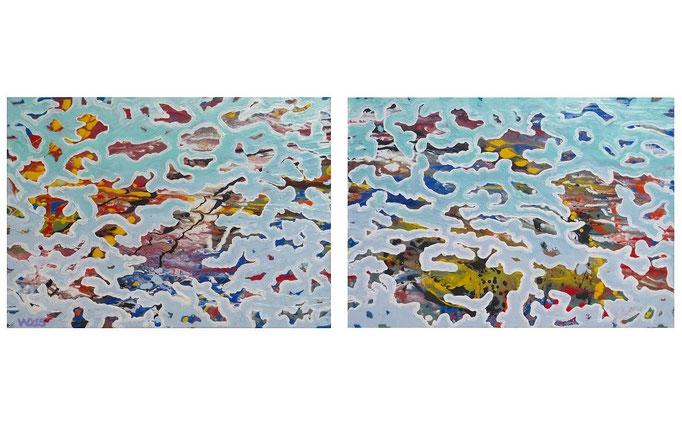Korallenriff  - 2 x 50 x 70cm  Acrylfarbe, Schlussfirnis.  120 €