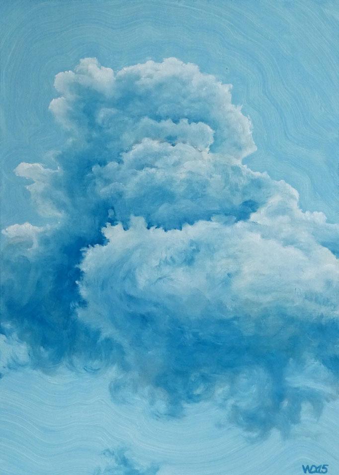 Blau über Blau  - 50 x 70cm  Ölfarbe,  3mm MDF-Platte   300.00€
