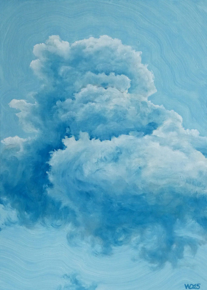 Blau über Blau  - 50 x 70cm  Ölfarbe, 4mm MDF-Platte   150.00€