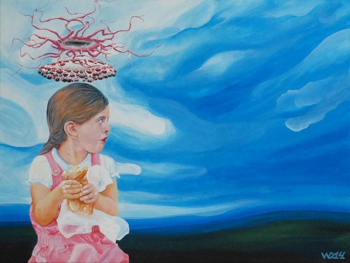 Kindheit der schwarzwälder Donnergöttin - 60 x 80cm Acrylfarbe, Schlussfirnis  280€
