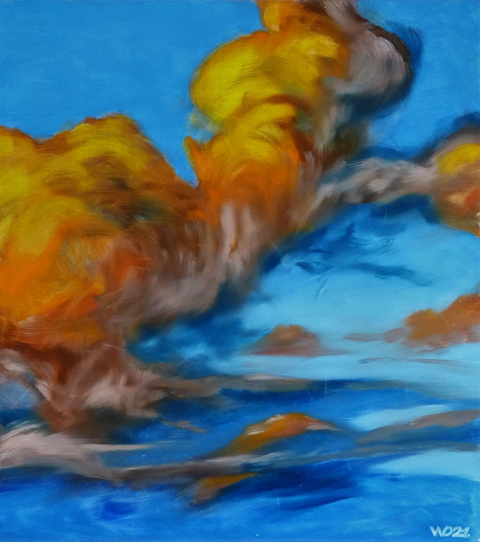 Cumulus aurantiaco - 42 x 47 cm  Ölfarbe, 3mm MDF-Platte  100.00€