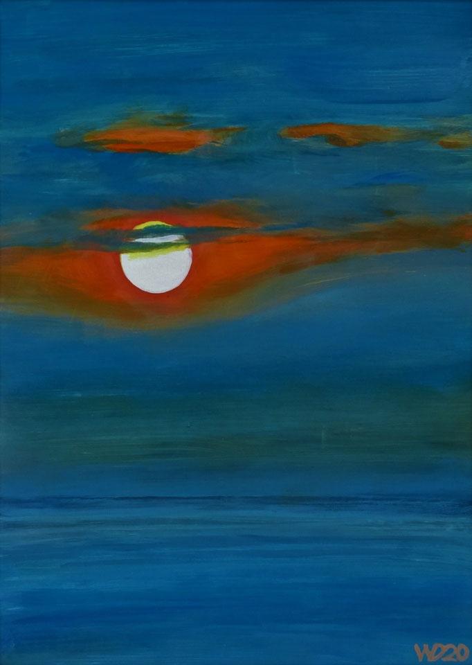 Sunset 21 - 24 x 33 cm  Ölfarbe auf Papier   45.00 €