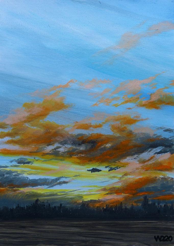 Sunset 62 - 24 x 33 cm  Ölfarbe auf Papier   45.00 €