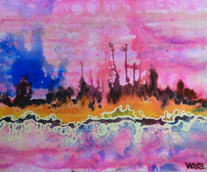 Untergang des Urans - 50 x 60cm  Material: Acrylfarbe, Schlussfirnis.    90 €