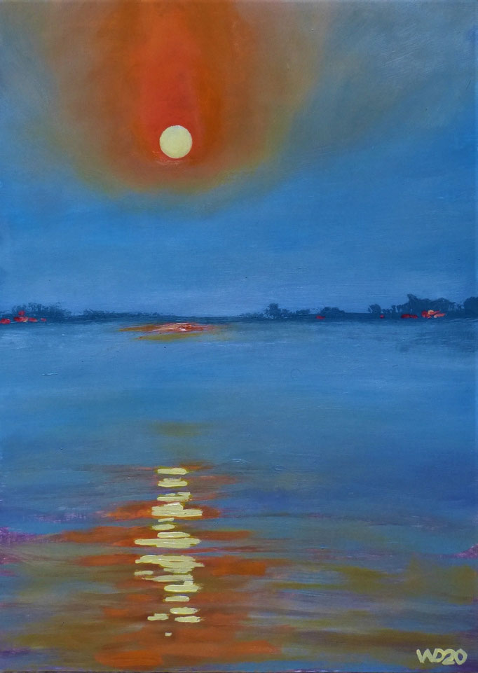 Sunset 17 - 24 x 33 cm  Ölfarbe auf Papier   45.00 €