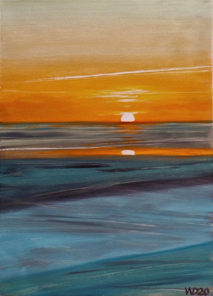Sunset 55 - 24 x 33 cm  Ölfarbe auf Papier   45.00 €