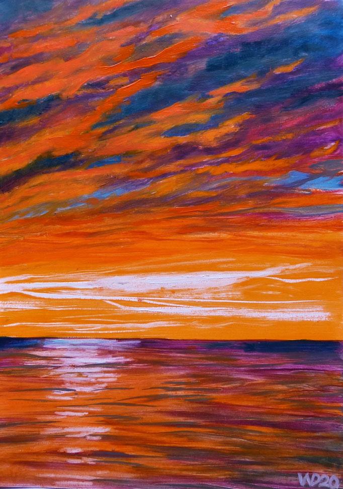 Sunset 69 - 24 x 33 cm  Ölfarbe auf Papier   45.00 €