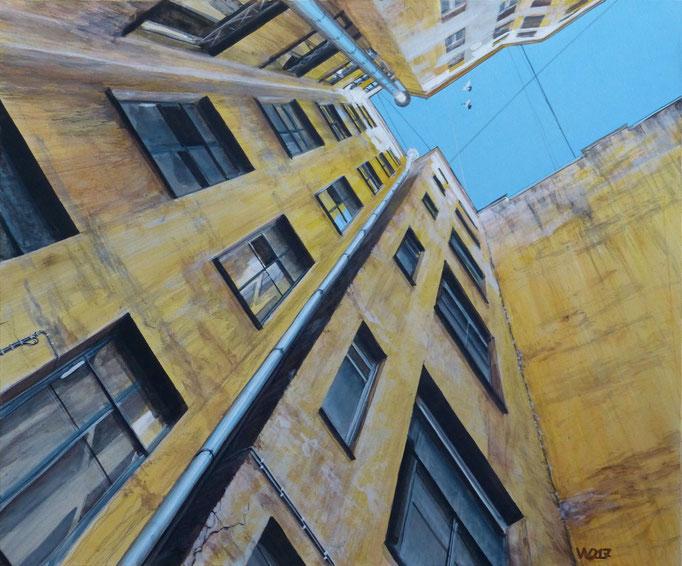 Hinterhof  - 40 x 50cm  Acrylfarbe,  4mm MDF-Platte   230.00€
