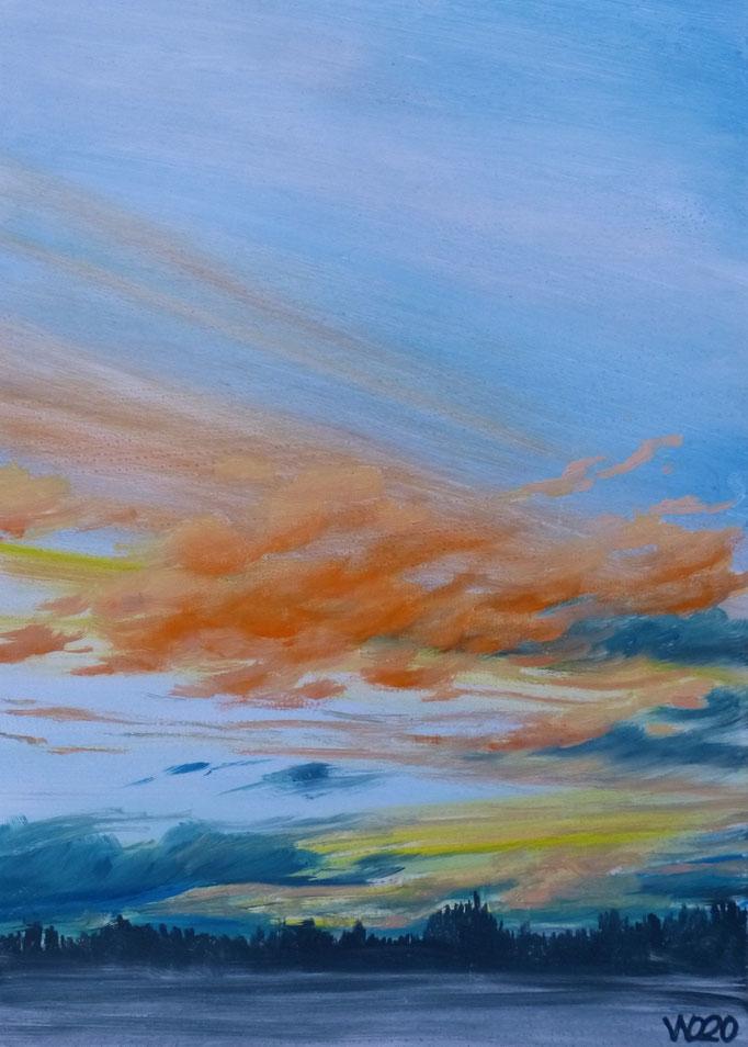 Sunset 71 - 24 x 33 cm  Ölfarbe auf Papier   45.00 €