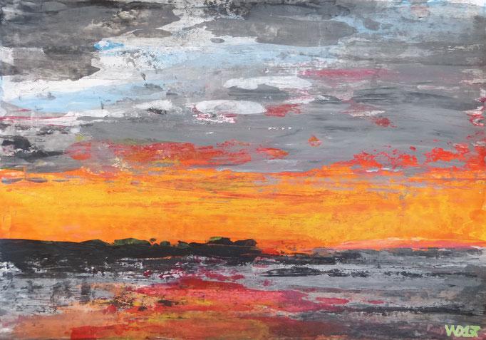 Abendstimmung - 33 x 47 cm  Acrylfarbe, Papier   49.00 €