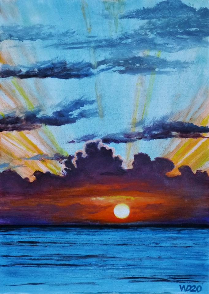 Sunset 80 - 24 x 33 cm  Ölfarbe auf Papier   45.00 €
