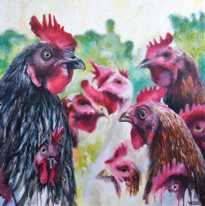 Familienbande - 80 x 80 x 5cm, Acrylfarbe auf Leinwand   390.00 €