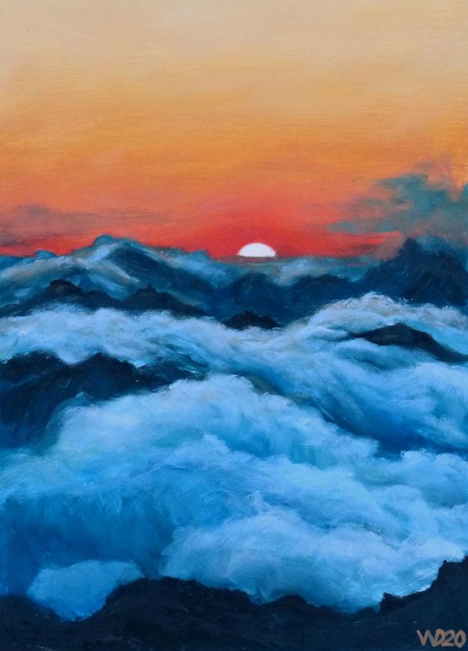 Sunset 9 - 24 x 33 cm  Ölfarbe auf Papier   45.00 €