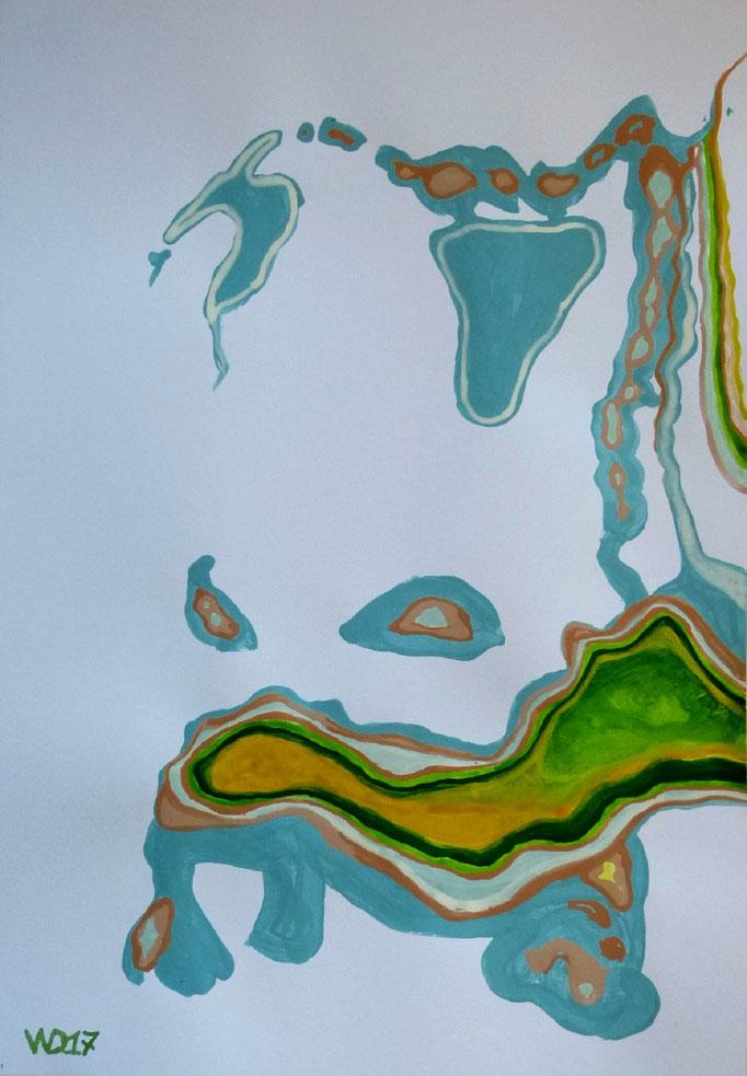 Bulldogge - 35 x 50 cm  Acrylfarbe auf`s Papier    99.00 €