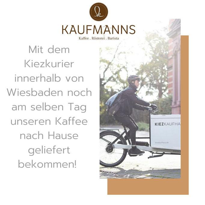 KAUFMANNS Kaffeerösterei  Wiesbaden arbeitet mit Kiezkurier Wiesbaden zusammen für emissionsfreien Transport innerhalb Wiesbadens