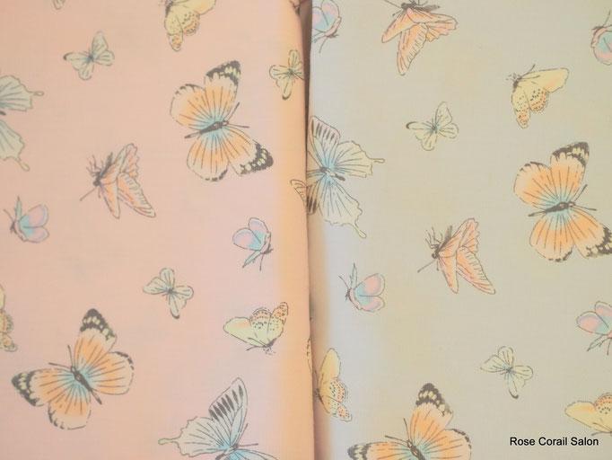 蝶柄の生地(ピンク・ブルー)