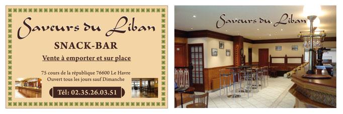 Carte de visite Saveurs du Liban - Le Havre