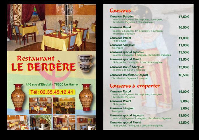 Flyer Restaurant Le Berbère - Le Havre