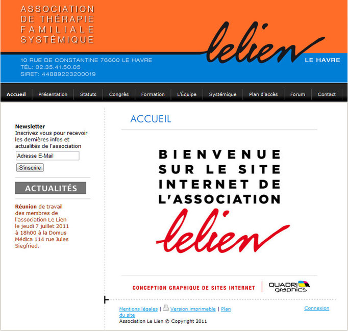 """Site internet pour l'association """"Le Lien"""" du Havre"""