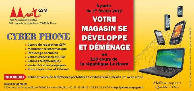 Flyers 10 x 21 cm pour MAPY GSM (Le Havre)