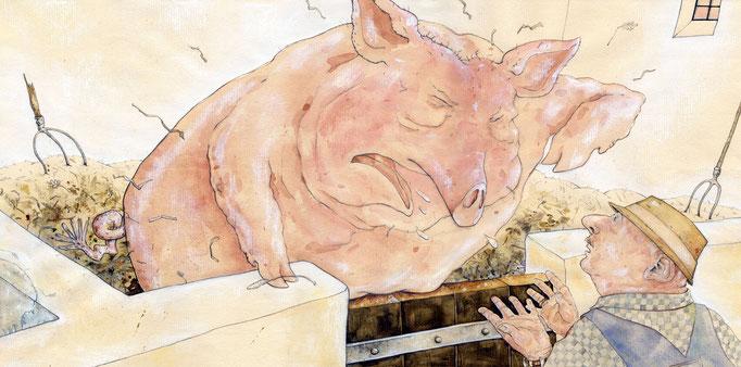 """BIlderbuch """"Das Schwein und der Bauer""""  Aquarell © Caroline Ronnefeldt"""