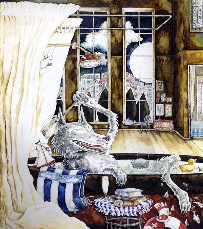 Der Wolf in der Badewanne aus Bilderbuch Tiertaxi Wolf & Co.  Verlag Sauerländer