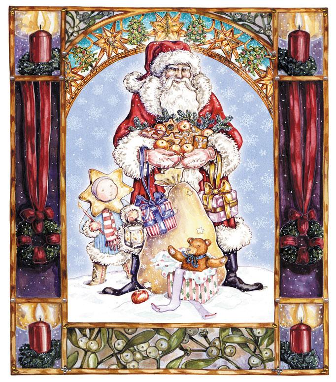 Farbillustration Weihnachtsmann im Schmuckrahmen mit Adventkranz und Kerzen Aquarell © Caroline Ronnefeldt