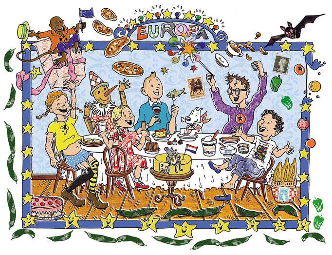 DIE ZEIT KinderZEIT Illustration Europa mit Tim und Struppi, Pippi Langstrumpf, Harry Potter u. a.,