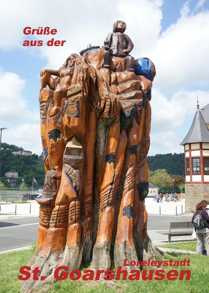 Postkarte der Baumskulptur, erhältlich in der Loreley-Touristik St. Goarshausen