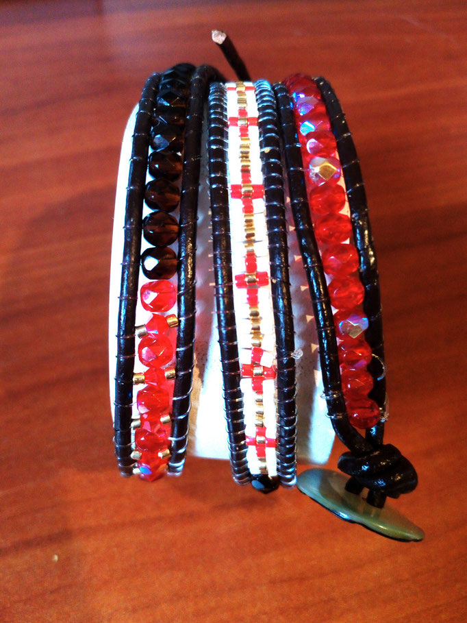 Bracelet cuir ,facettes perles miyuki / BR : 022 / 15€