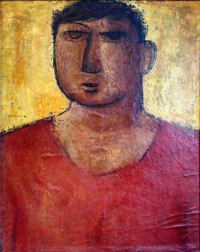 Paysan flamand, 57x70, 1955, huile sur toile, collection d'atelier