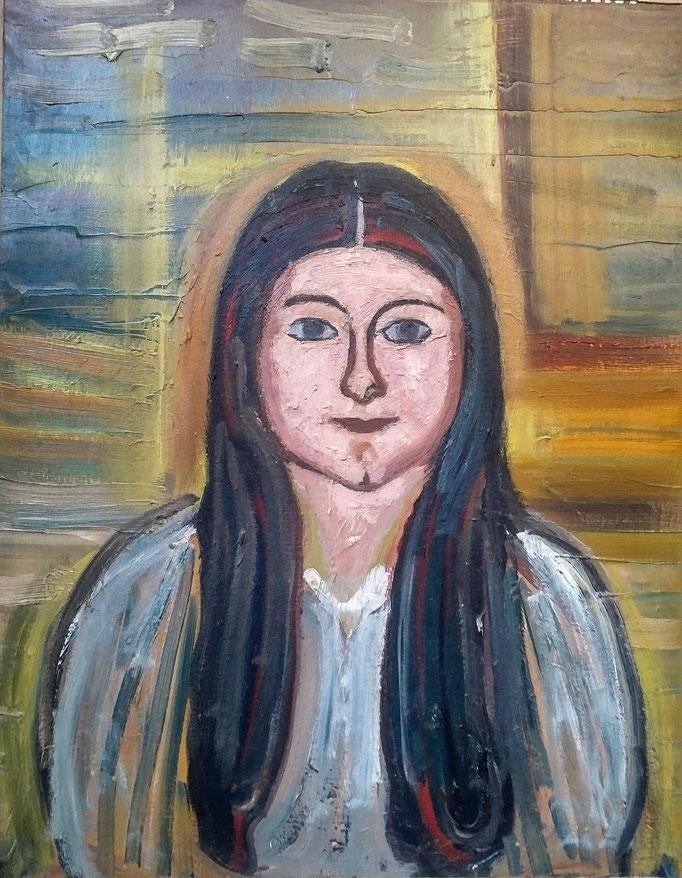 Visage , huile sur toile, [ 1970], collection d'atelier